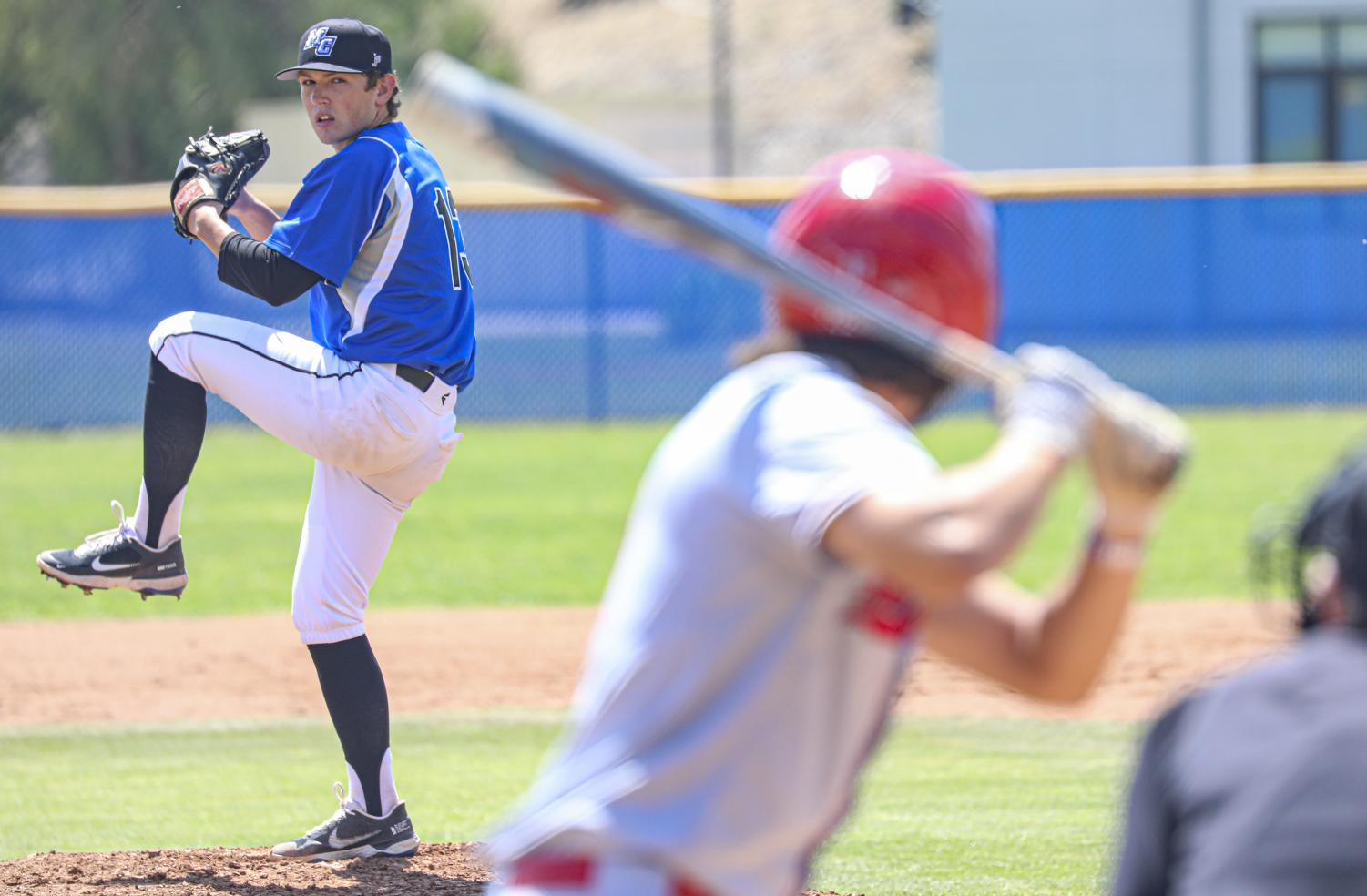 Moorpark pitcher Lance Kinross winds up a pitch to a batter during the home game against the Bakersfield College Renegades on April 10, 2021 at Moorpark College.