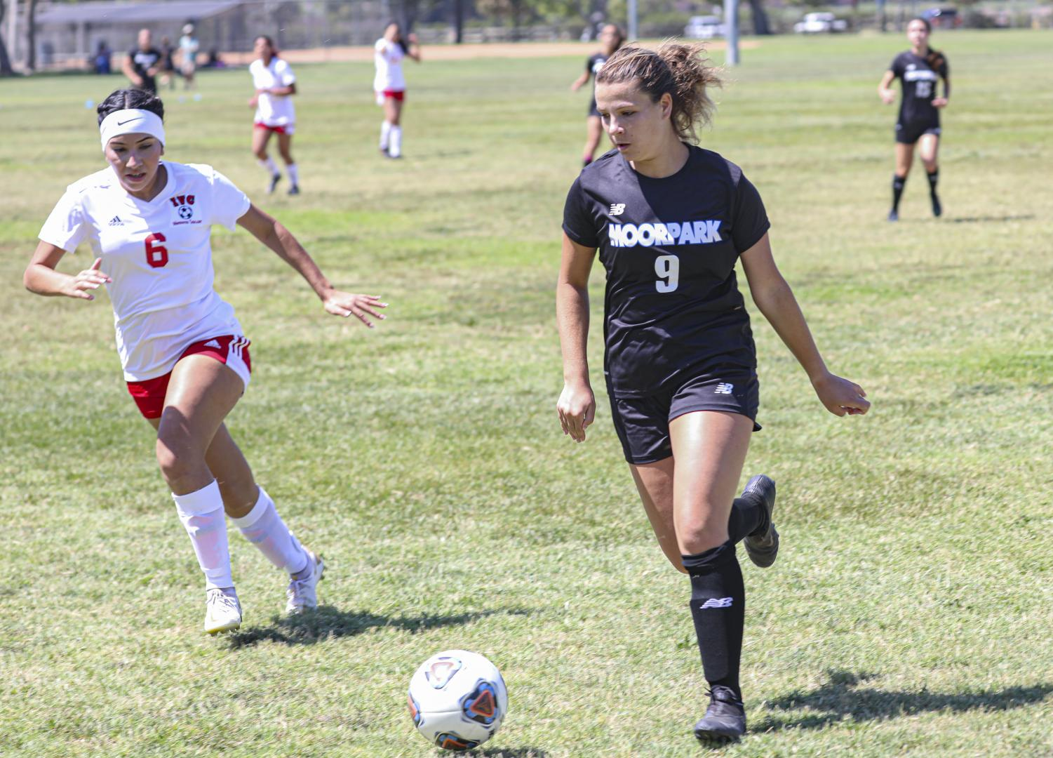 Moorpark Freshman Skylar Rusch maneuvers around Imperial Valley's defenses and heads for the goal during the season opener on Friday, Aug. 27, in Moorpark, CA. Moorpark College defeated Imperial Valley, 4-0.