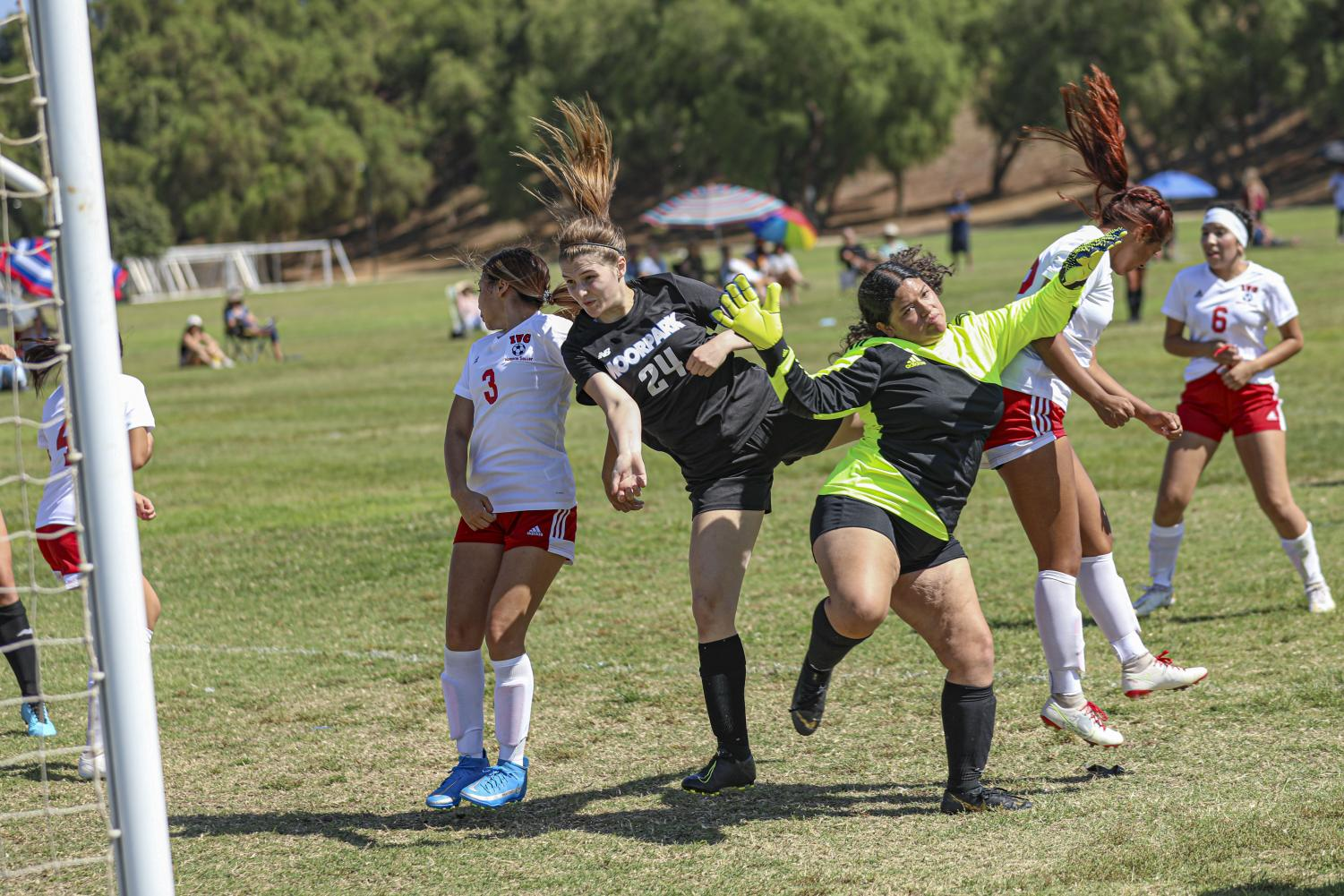 Freshman Riley Tripp headbutts in a goal, solidifying the Moorpark Raiders victory over Imperial Valley on Friday, Aug. 27, in Moorpark, CA. The Raiders defeated Imperial Valley, 4-0, in their season opener.