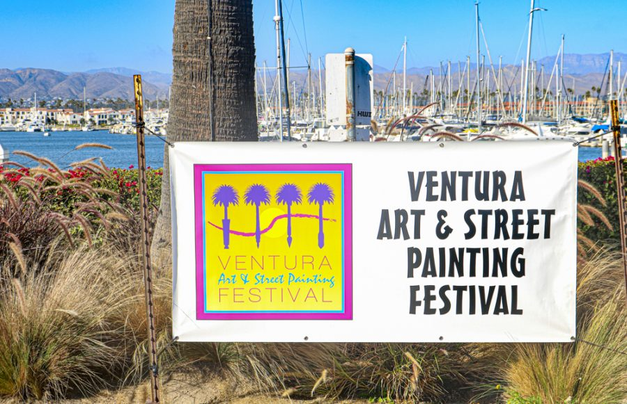 Ventura Art and Street Painting Festival Sign on Sunday, Sept. 12, 2021, in Ventura, CA. Photo credit: Valeri Roussak