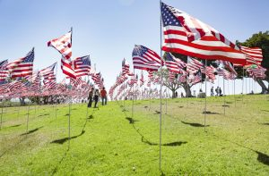 Flags representing the lives lost on 9/11 blow in the wind in Alumni Park at Pepperdine University in Malibu, CA. on Sept. 11, 2021. Photo credit: Ryan Bough
