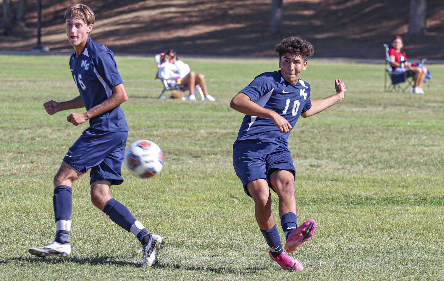 Tony Reyes takes a shot on goal in the second half of Friday's game that ricochets off of multiple Palomar defenders.