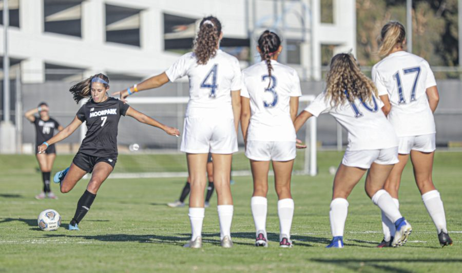 Moorpark College freshman forward Mia Nilsen-Aguilar shoots and scores a free-kick just outside of the College of the Canyons 18-yard box during the womens soccer game on Tuesday, Sept. 14, in Moorpark, CA. Photo credit: Ryan Bough