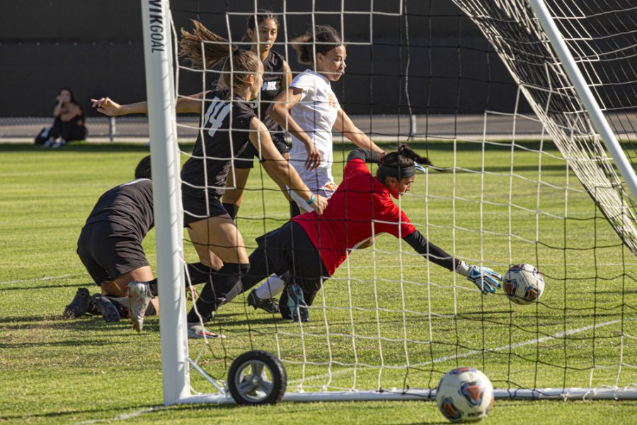 Moorpark College Freshman, Natalie Romero reaches to block a shot by Ventura Colleges Womens Soccer team on Friday, Oct. 1, 2021 in Moorpark, CA. Photo credit: Christopher Schmider